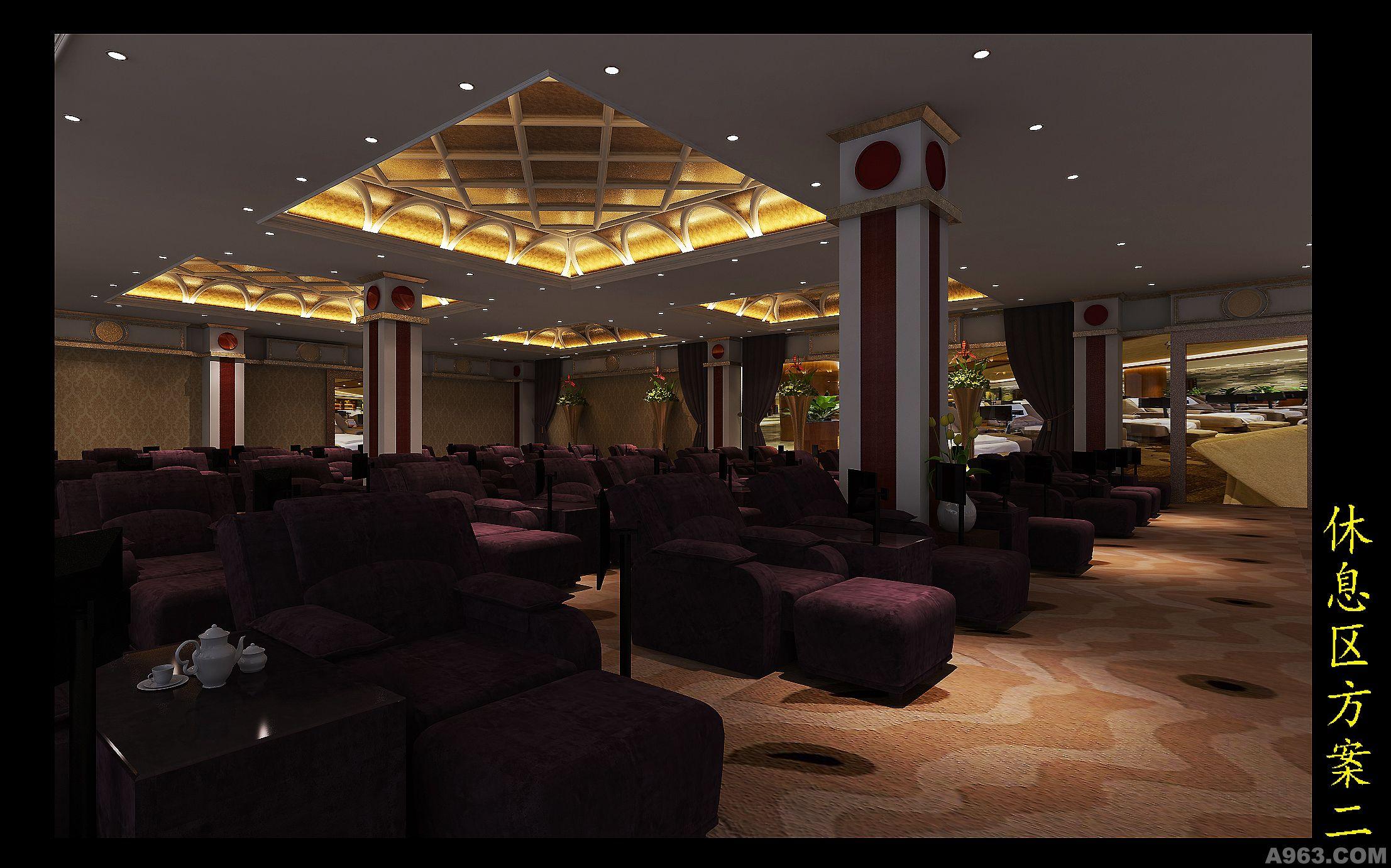 二楼休息区,同时容纳500,天花4.3米。灯光舒适为主