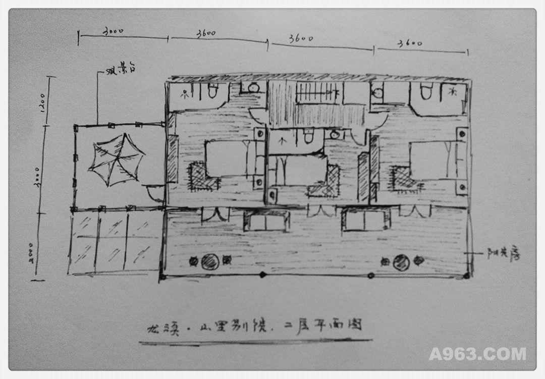 二层住宿区平面手绘图