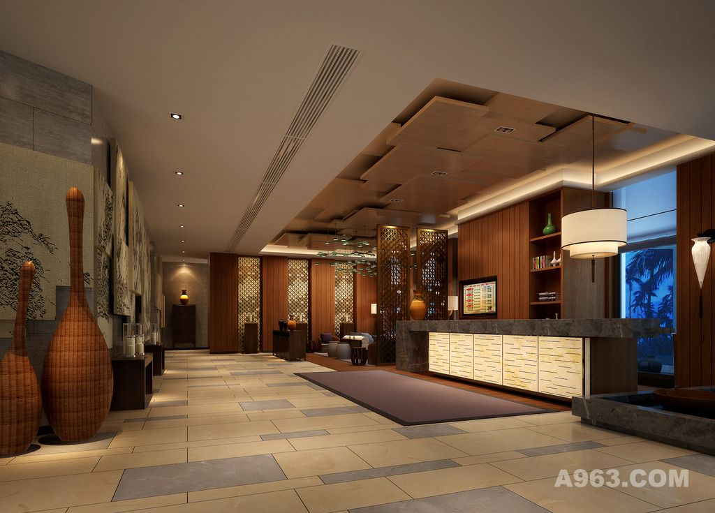 酒店大厅设计案例效果图2说明: 接待大厅 服务大厅 酒店门厅