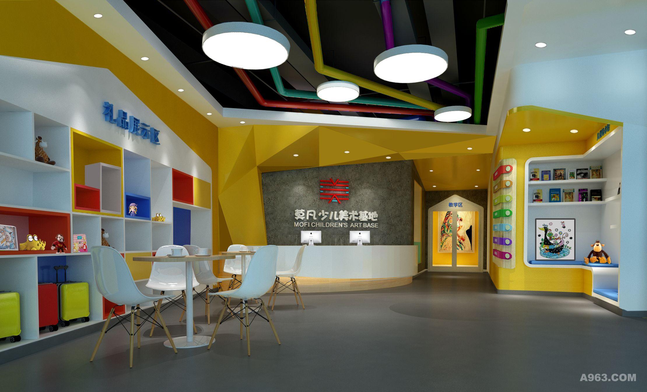 大厅效果图,经过精心的设计,弧形的前台与异形背景墙结合,入门左侧