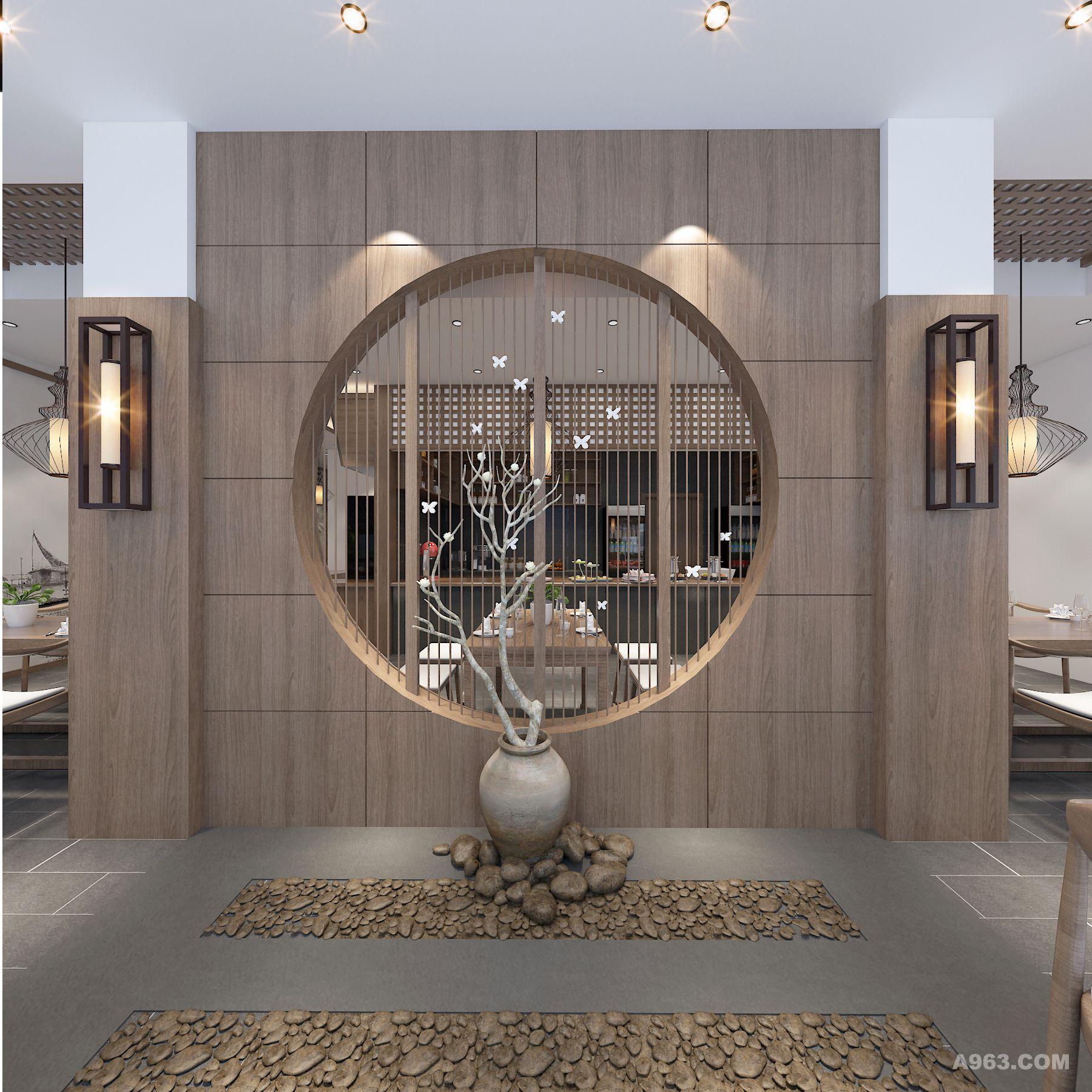 玄关区地面用鹅卵石结合石材铺贴,一层大厅及二层为整铺仿古砖;墙面以